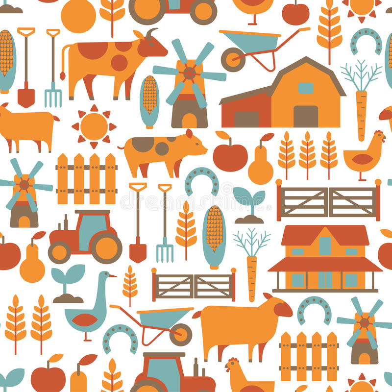 Farm pattern. Seamless pattern with farm related items royalty free illustration