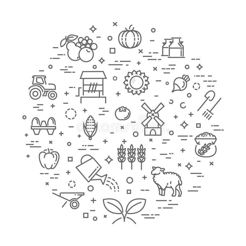 Farm Product Illustration, Organic Food Concept Vector Template ...