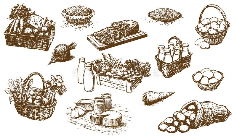Farm products - food, set of hand-drawn illustrations royalty free illustration
