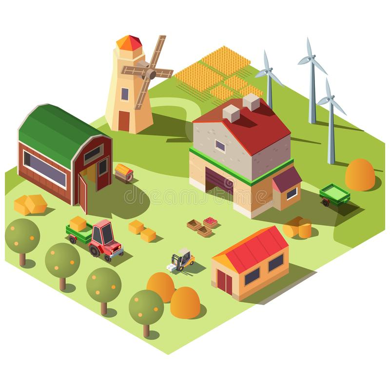Modern organic farm, ranch yard isometric vector royalty free illustration