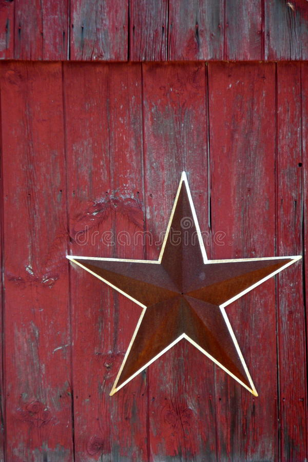 Farm: red star red barn stock photo