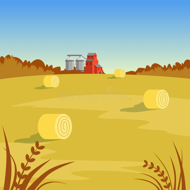 Farm rural landscape with hay, beautiful autumn background vector illustration royalty free illustration