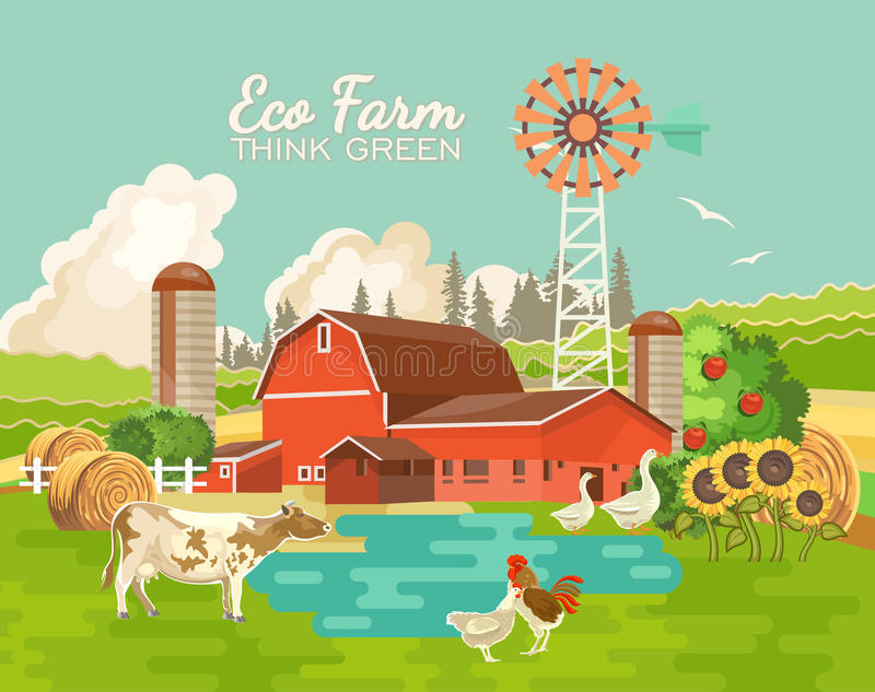 Farm rural landscape with pond. Agriculture vector illustration. Colorful countryside. Poster with retro village and farm. Fl royalty free illustration