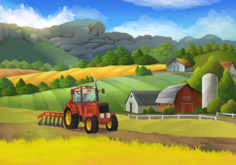 Farm rural landscape. With tractor on the field, vector background vector illustration