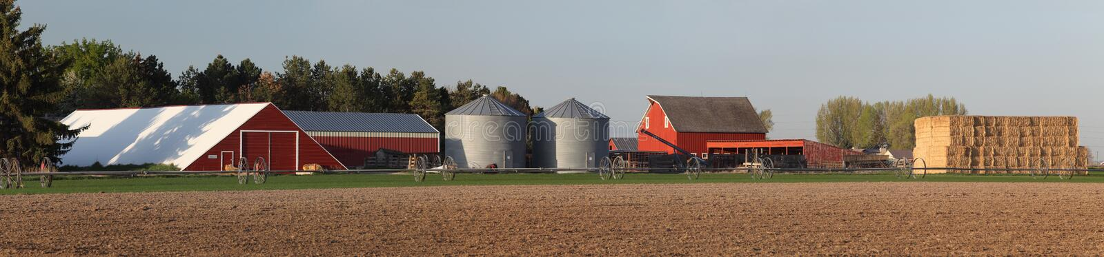 Farm Scene with hay and buildings. A freshly planted wheat field with irrigation equipment, and farm buildings in the background stock image