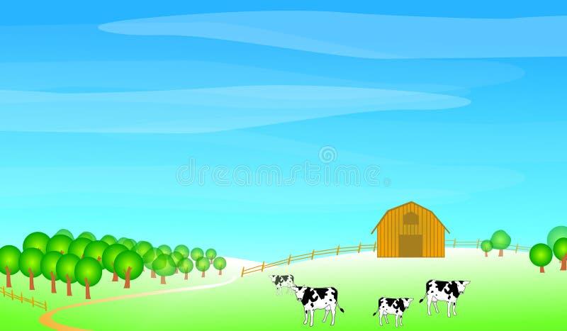 Farm scene illustration royalty free illustration