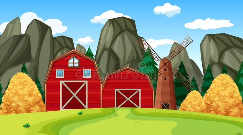 Farm scene in nature with barn royalty free illustration