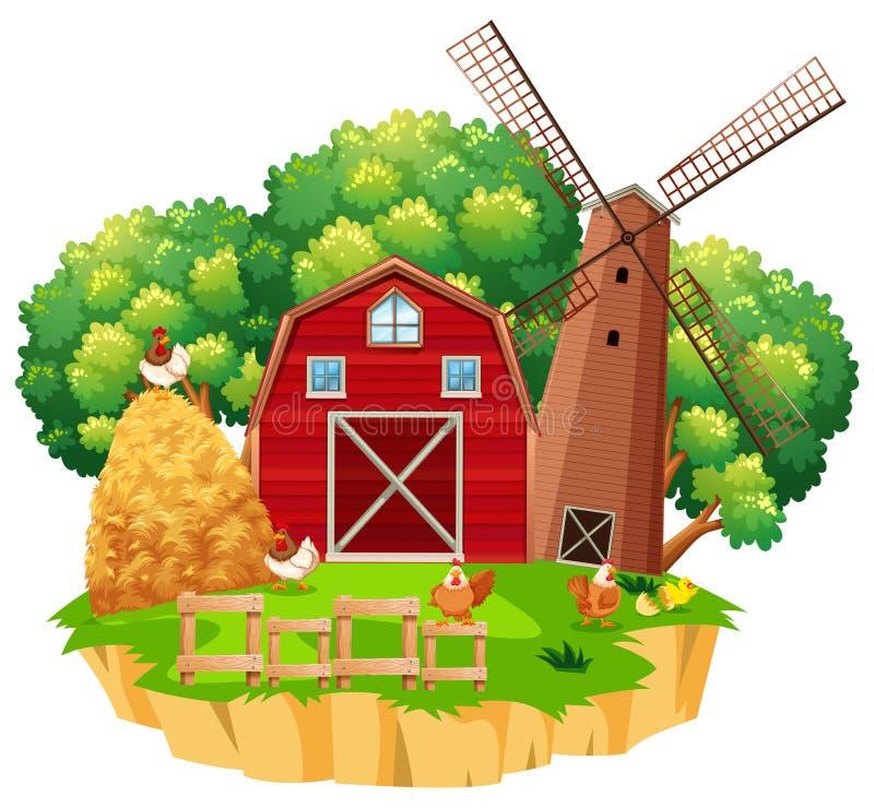 farm scene with red barn and wooden windmill stock illustration rh dreamstime com free clipart farm scene