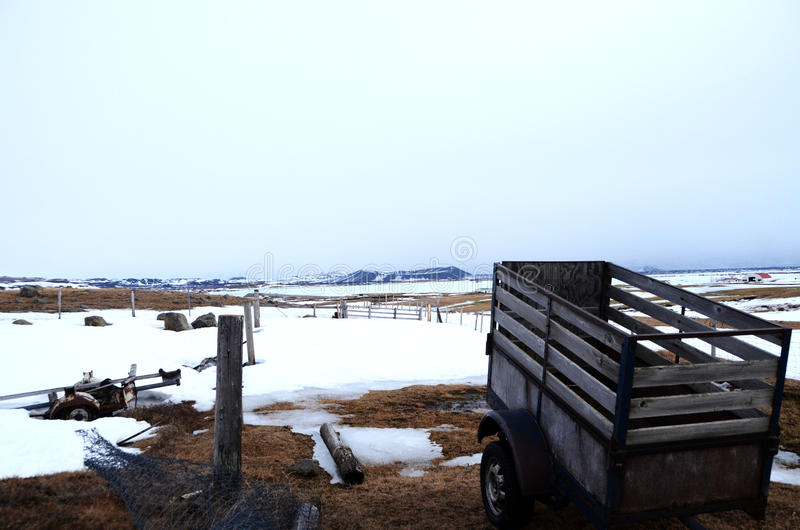 Farm scene in snow stock image