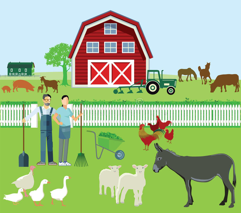 Download Farm Scene With Tractor And Animals Stock Vector