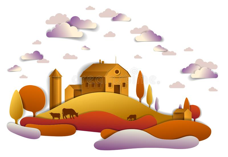 Farm in scenic autumn landscape of fields and trees and wooden country buildings, clouds in the sky, cow milk ranch, countryside stock illustration