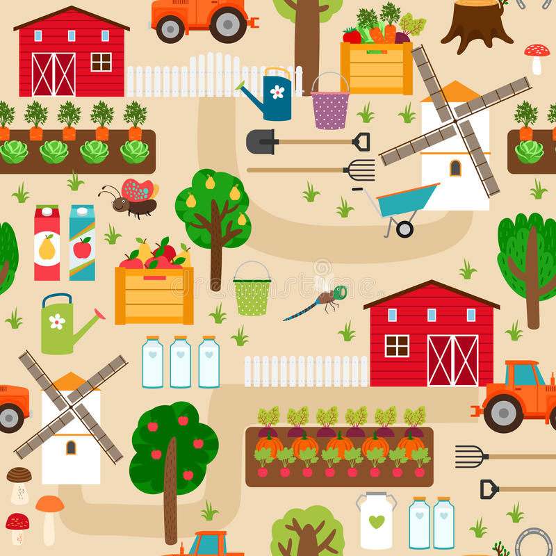 Farm seamless pattern with tractor and beds, apple vector illustration