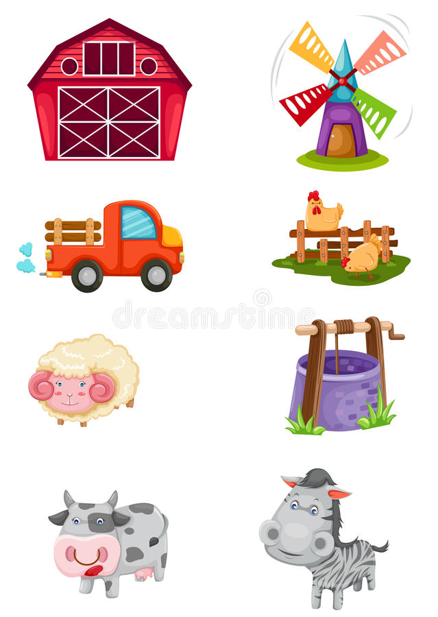 Farm set. Illustration of isolated farm set on white background