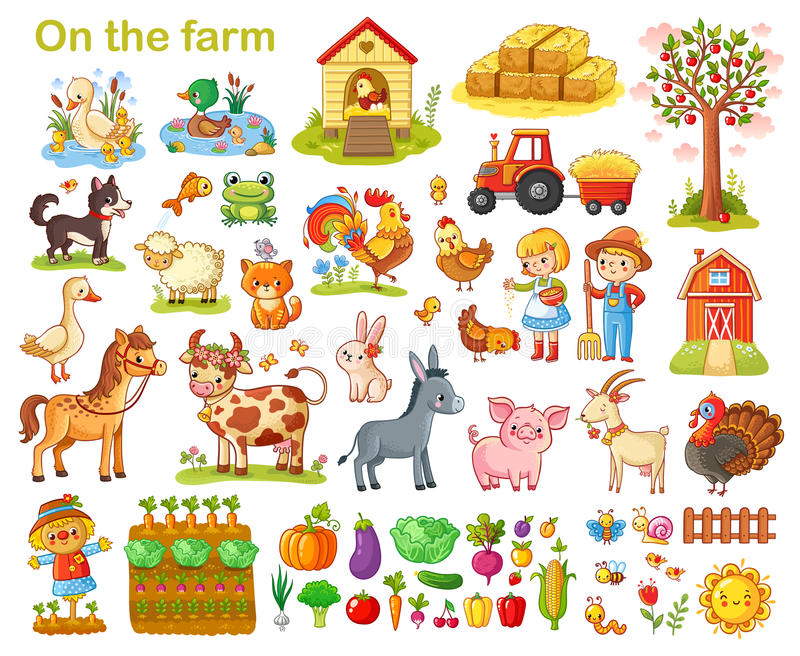 Farm set with animals. stock illustration