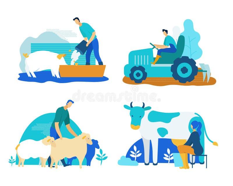 Farm Set with Pigs, Cows, Sheep Cartoon Flat. royalty free illustration