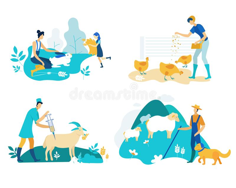 Farm Set with Poultry and Livestock Cartoon Flat. royalty free illustration