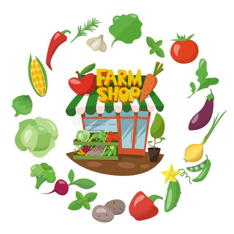 Farm shop infographic design wih different vegetables around. royalty free illustration