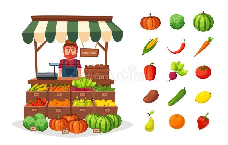 Farm shop. Local stall market. Selling vegetables. Cartoon vector illustration. vector illustration