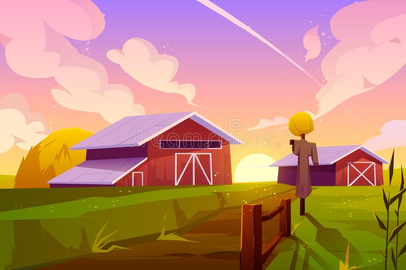 Farm on summer nature rural background with barn. Farm on nature rural background with barn, green field, stack of hay and scarecrow under cloudy sunset or royalty free illustration