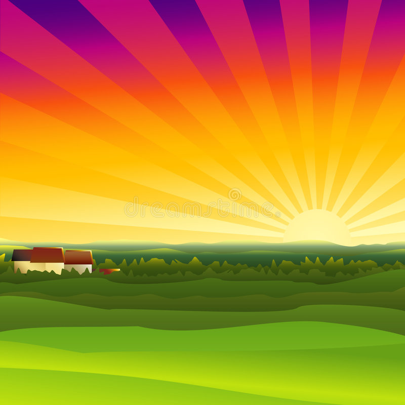 Farm sunset vector illustration