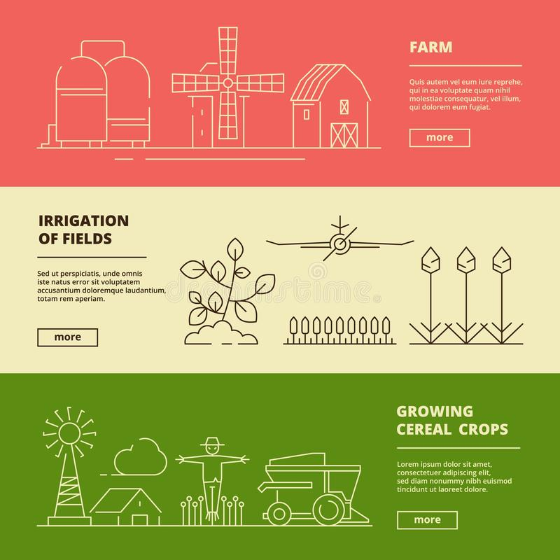 Farm symbols banners. Field wheat nature village and agricultural technique vector design template vector illustration