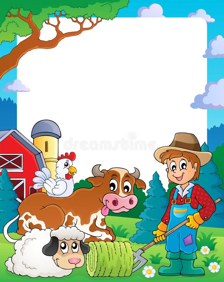 Farm theme frame 3 stock vector. Illustration of cute - 34291949