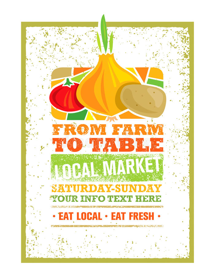 From Farm To Table Fresh Local Food Print Concept. Creative Organic Banner On Grunge Distressed Background vector illustration