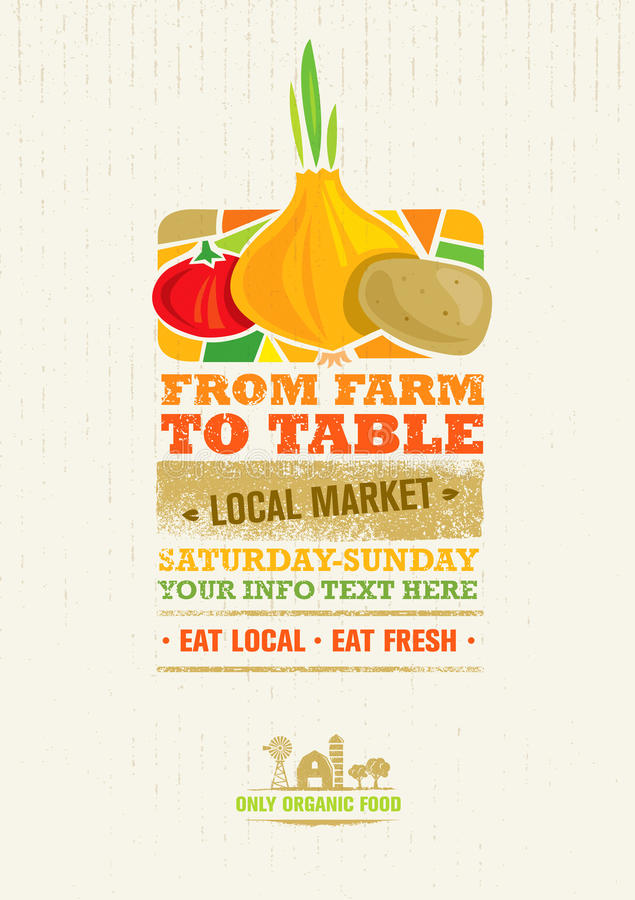From Farm To Table Fresh Local Food Print Concept. Creative Organic Banner On Grunge Distressed Background royalty free illustration