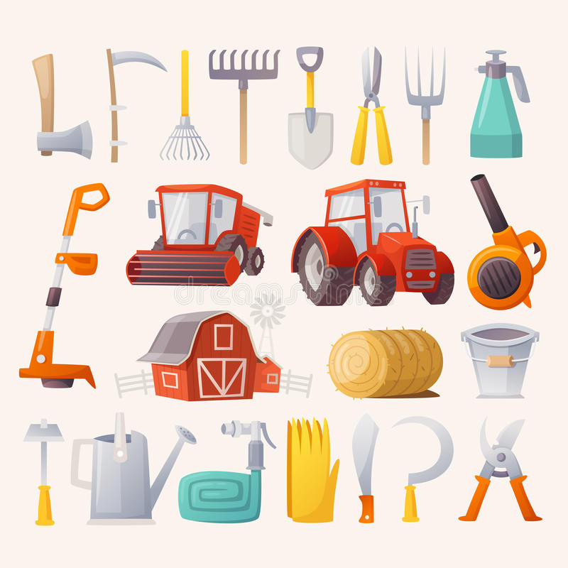 Farm tools and agricultural machines. Items, tools and agricultural machines for farming. Flat view stock illustration