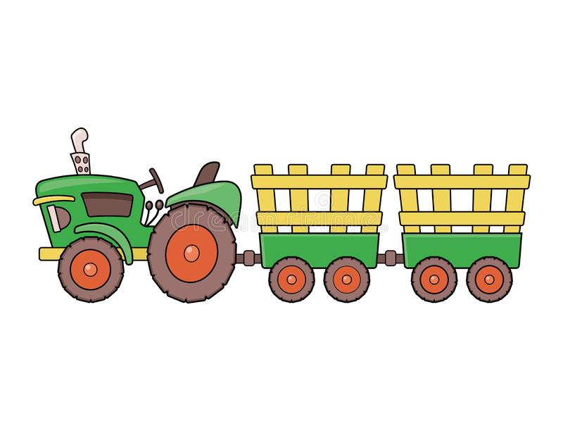 Farm tractor illustration. Illustration of a farm tractor isolated on a white background stock illustration