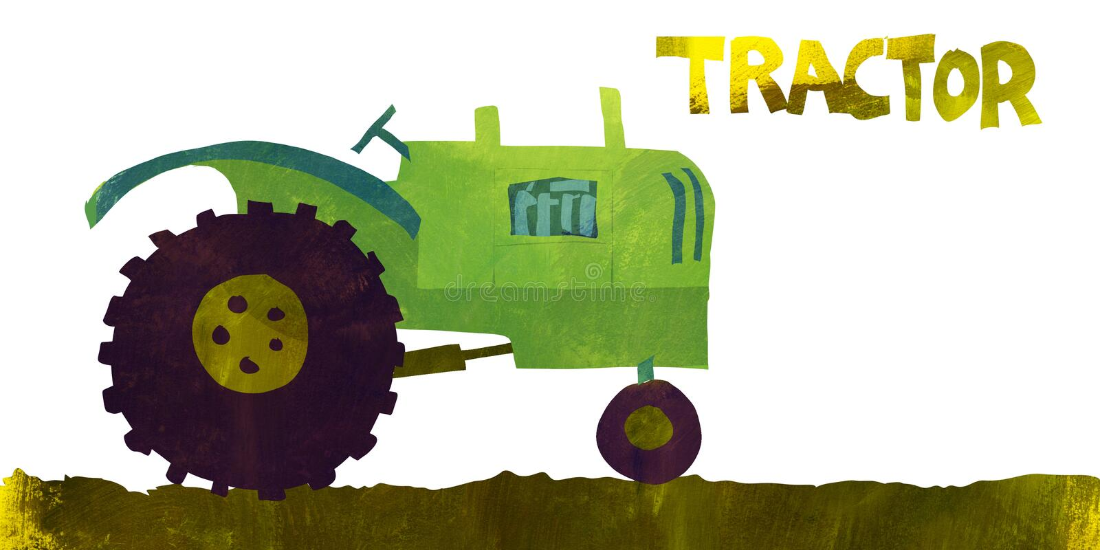 Farm Tractor. Illustration of a tractor in a simple flat textured style royalty free illustration