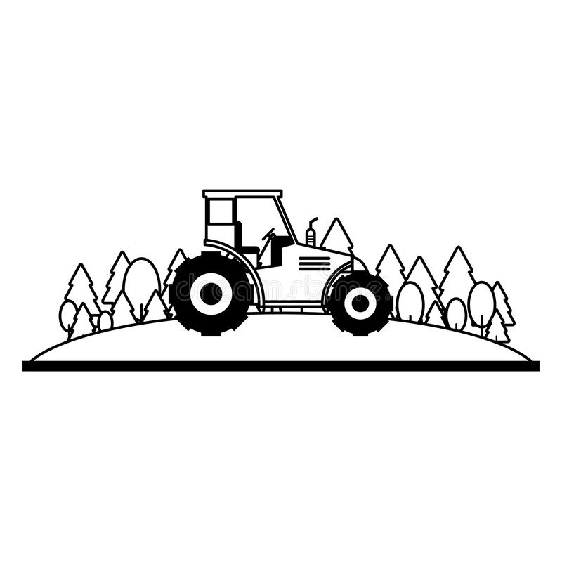 Farm tractor in nature scenery in black and white. Farm tractor in nature scenery vector illustration graphic design stock illustration