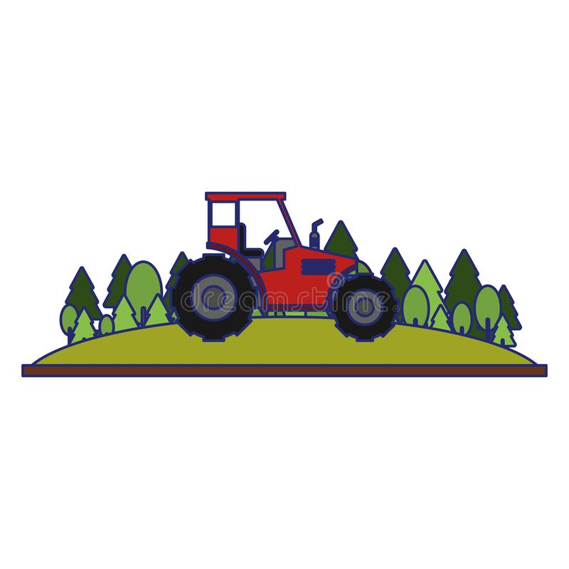 Farm tractor in nature scenery blue lines. Farm tractor in nature scenery vector illustration graphic design stock illustration