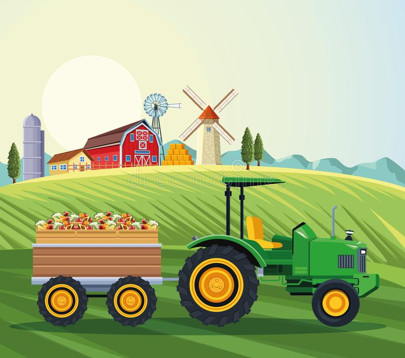 Farm tractor pushing fruits with cart royalty free illustration