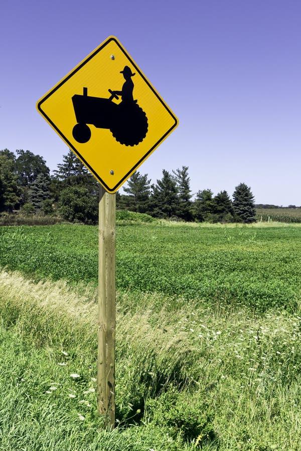 Farm tractor road sign stock photos