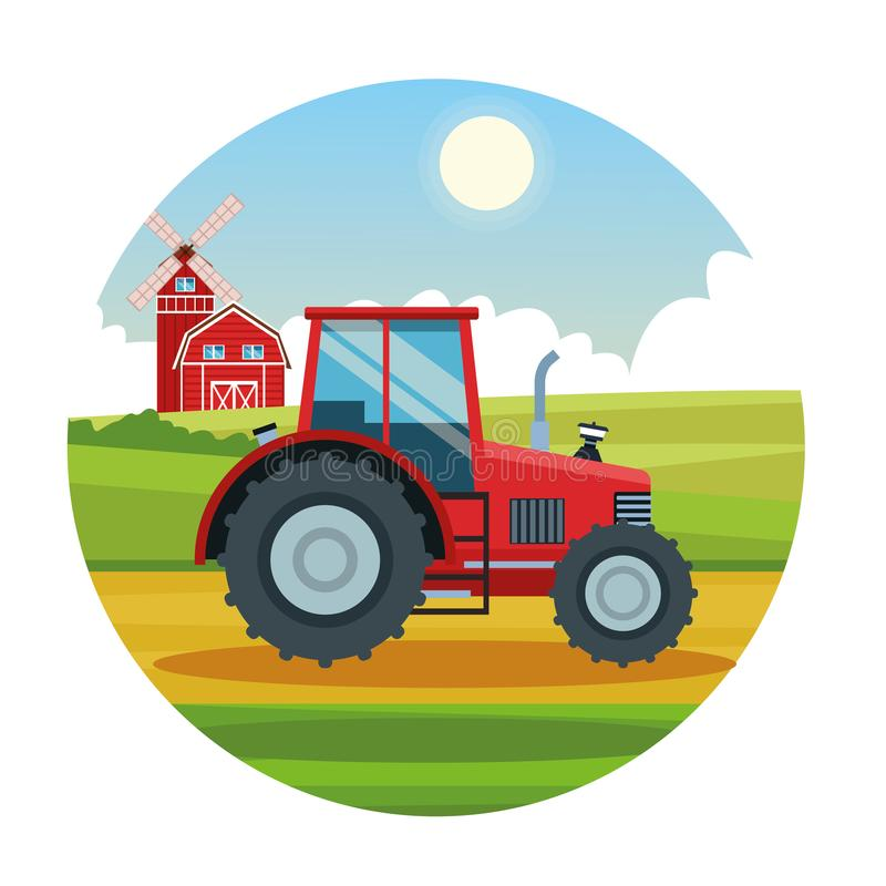 Farm tractor rural cartoons. Tractor and barn farm sunny day scenery round icon, nature and farm lifestyle stock illustration
