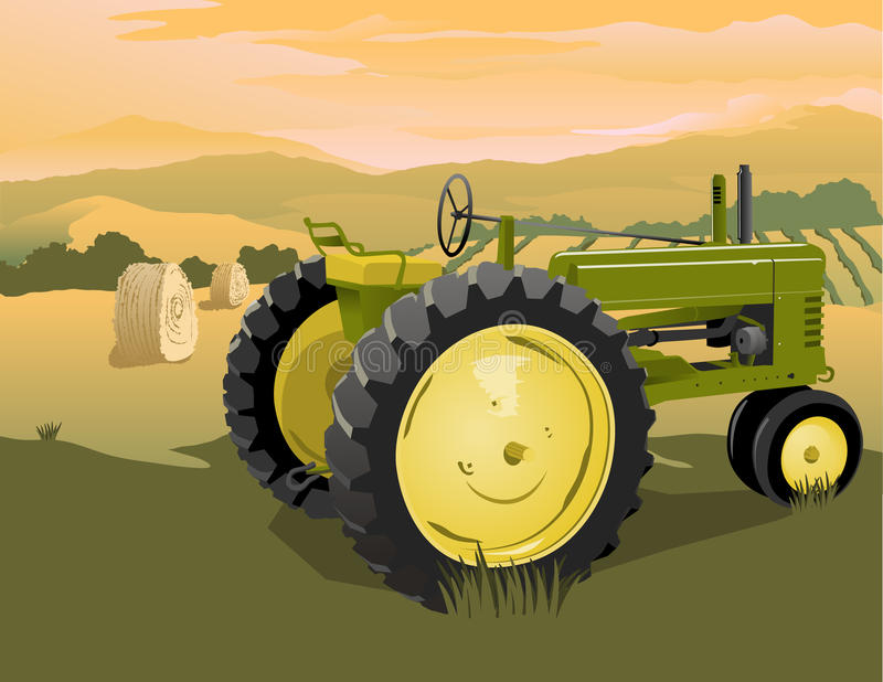 Farm Tractor Scene. Illustration of an old tractor with a rural landscape behind stock illustration