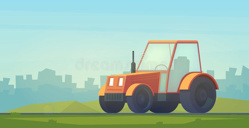 Farm tractor. Service vehicle. Heavy machinery for field and earthworks. Farm tractor. Service vehicle. Heavy machinery for field and earthworks in city stock illustration