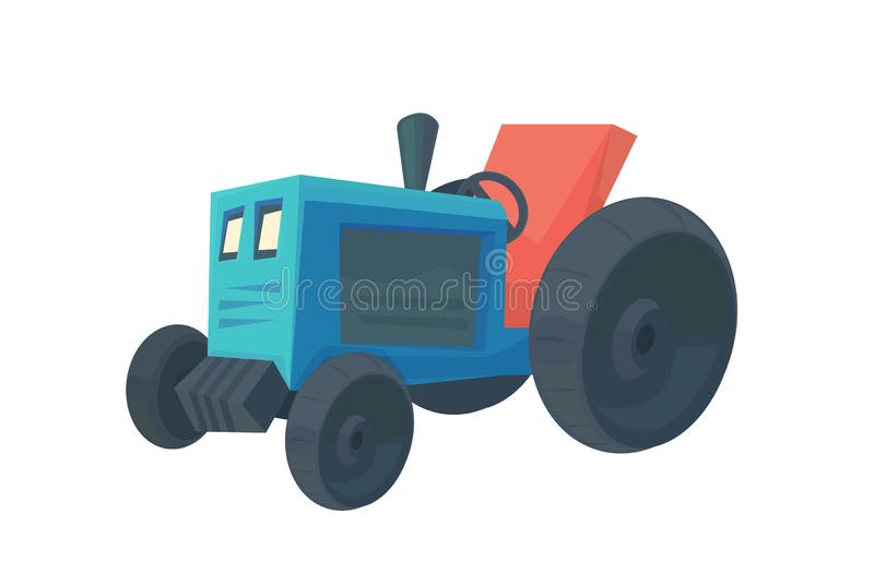 Farm tractor. Service vehicle. Heavy machinery for field and earthworks. Vector cartoon illustration isolated on white vector illustration