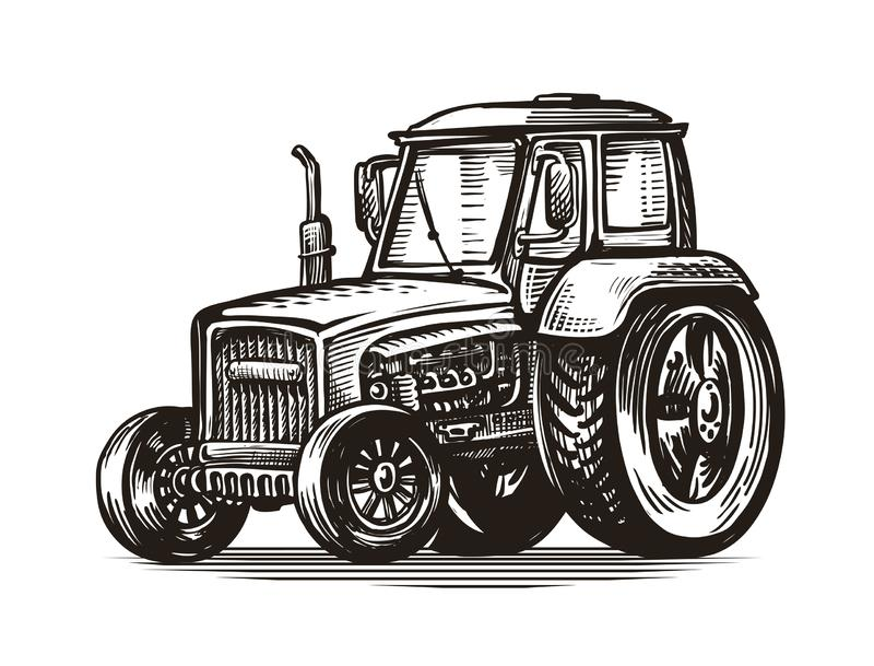 Farm tractor, sketch Agriculture, farming, agribusiness concept. Vintage vector illustration vector illustration