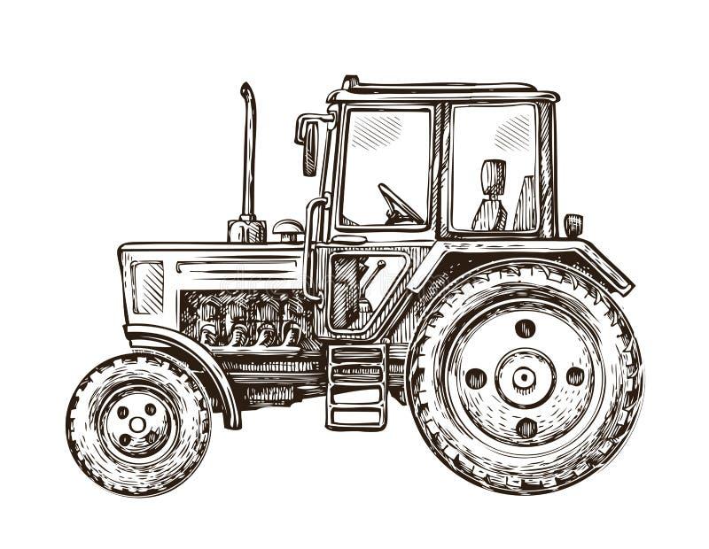 Farm tractor sketch. Hand-drawn vector illustration. Farm tractor sketch. Hand drawn vector illustration stock illustration