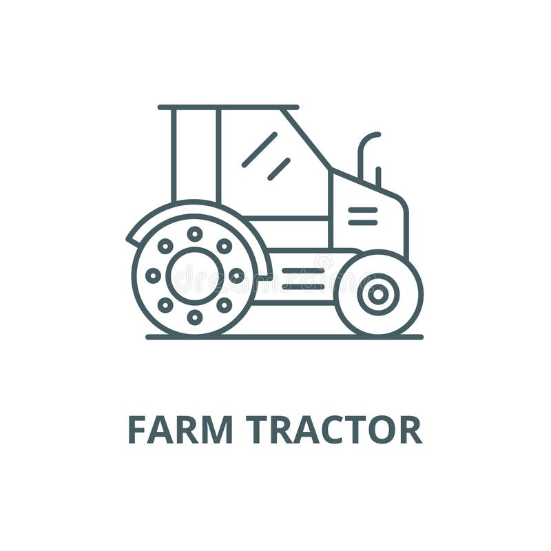 Farm tractor vector line icon, linear concept, outline sign, symbol. Farm tractor vector line icon, outline concept, linear sign royalty free illustration