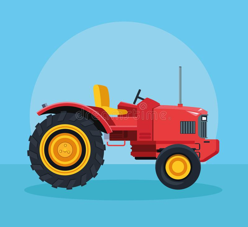 Farm tractor vehicle. Over blue background vector illustration graphic design vector illustration
