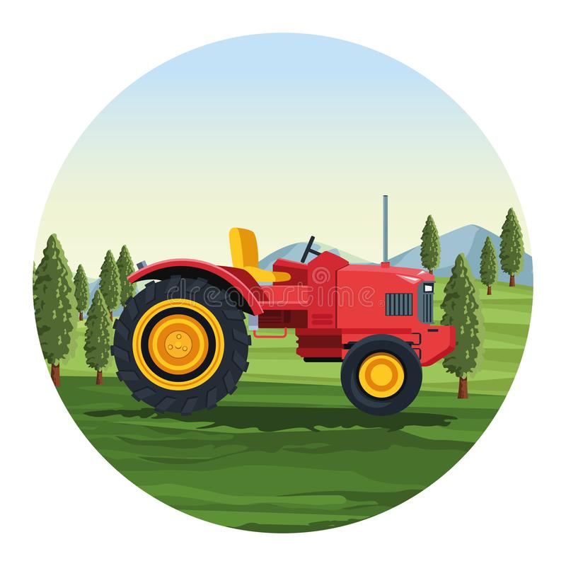 Farm tractor vehicle. Over landscape scenery round icon vector illustration graphic design royalty free illustration