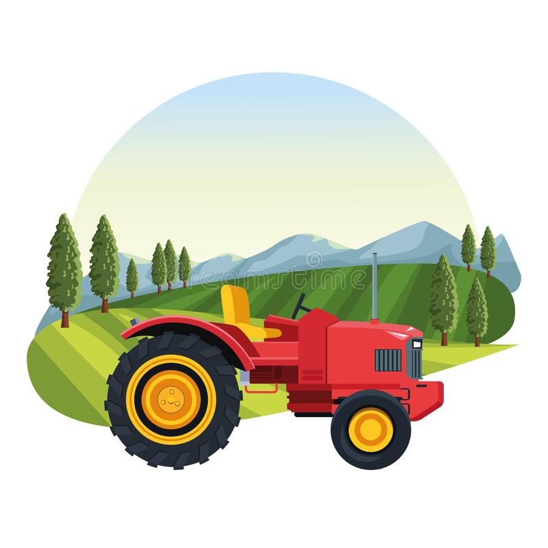Farm tractor vehicle. Over landscape scenery vector illustration graphic design royalty free illustration