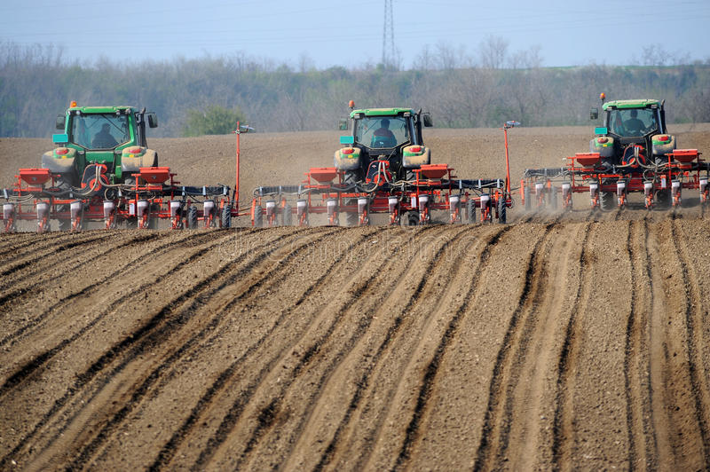 Farm tractors planting field. Three farm tractors planting a plowed and harrowed field royalty free stock images