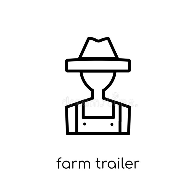 Farm Trailer icon from Agriculture, Farming and Gardening collec. Farm trailer icon. Trendy modern flat linear vector farm trailer icon on white background from royalty free illustration