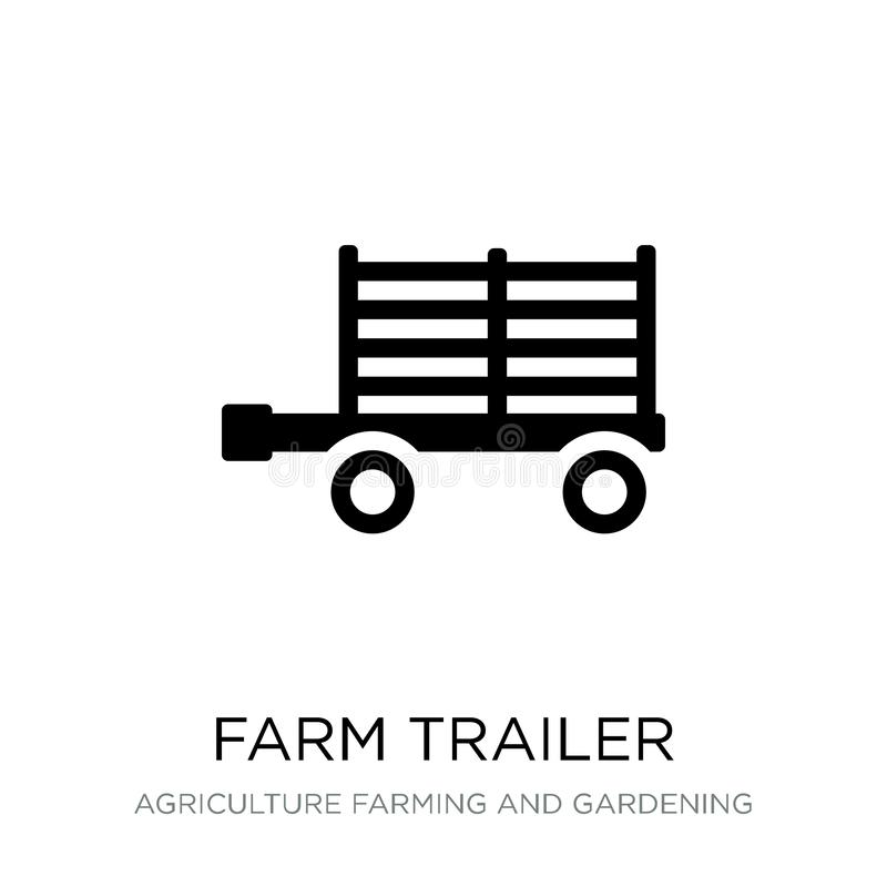 Farm trailer icon in trendy design style. farm trailer icon isolated on white background. farm trailer vector icon simple and. Modern flat symbol for web site vector illustration