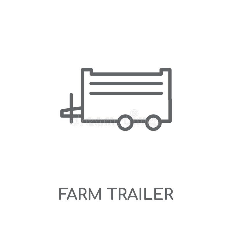 Farm Trailer linear icon. Modern outline farm Trailer logo conce. Pt on white background from Agriculture Farming and Gardening collection. Suitable for use on royalty free illustration