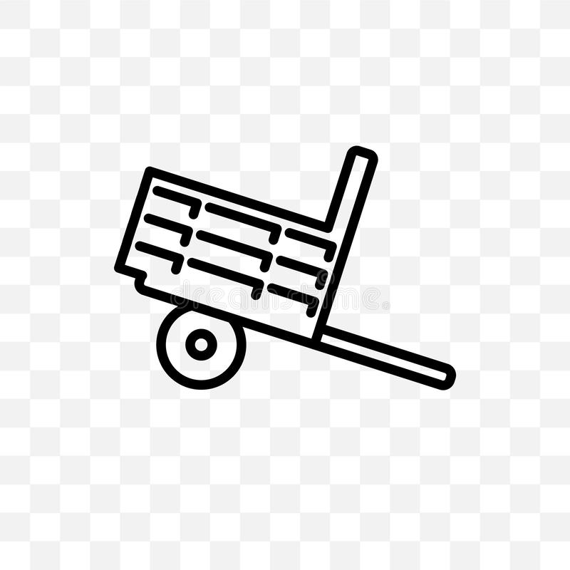 Farm Trailer vector linear icon isolated on transparent background, farm Trailer transparency concept can be used for web and mobi. Le royalty free illustration